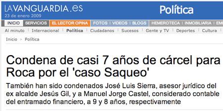 Noticia del diario La Vanguardia