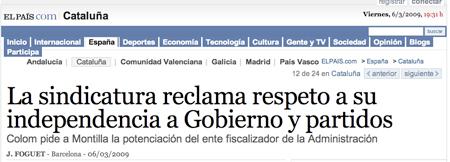 Declaraciones del Sindic Major de Catalunya