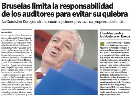 UE limita la responsabilidad de los auditores