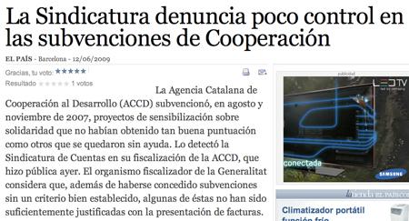Titula del diario El País