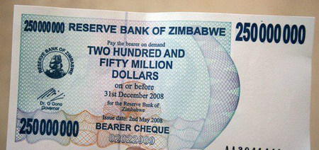 Moneda hiperinflacionaria de Zimbabwe