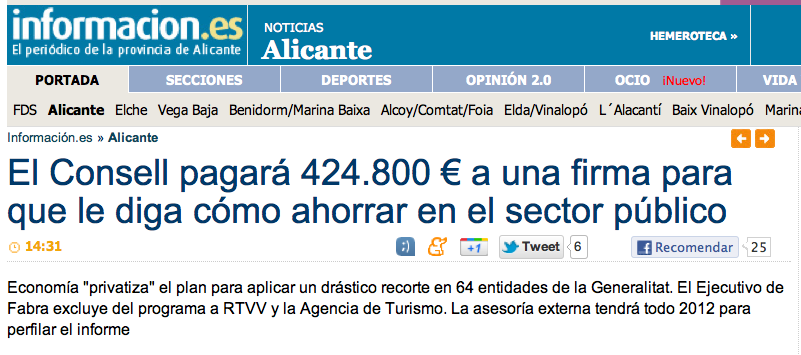 El Consell pagará 424.800 € a una firma para que le diga cómo ahorrar en el sector público