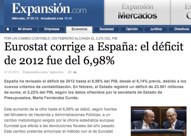 Eurostat corrige a España