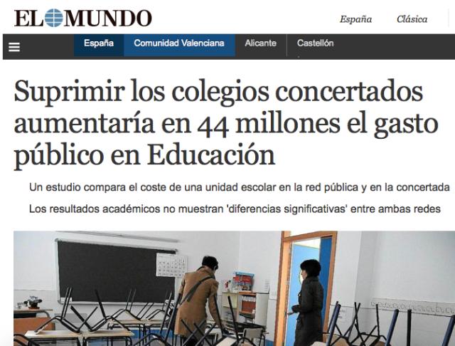 uprimir los colegios concertados aumentaría en 44 millones el gasto