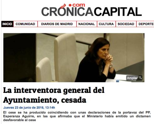 Cese interventora Madrid